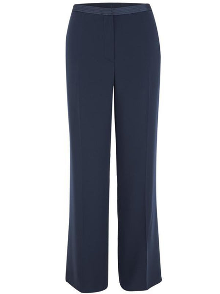 Navy Satin Back Satin Trim Trouser 20Y205 alt1