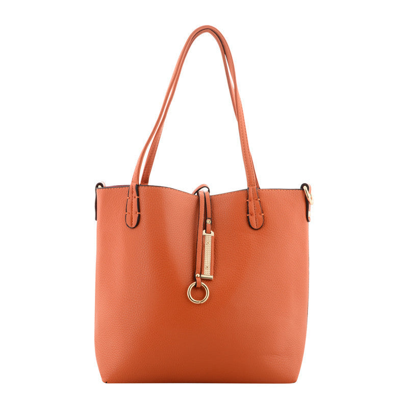 Orange & Fuchsia Reversible Shoulder Bag With Gold Buckle Detail