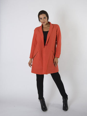 Orange Zip Detail Wool Coat