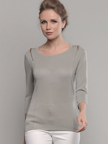 Passioni sage  ¾ Sleeve Zip Detail Jumper