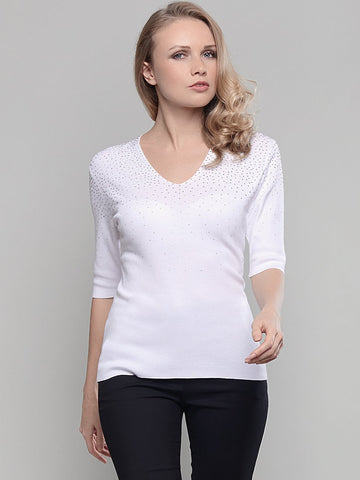 Passioni White Short Sleeve Diamante Detail v-neck Jumper