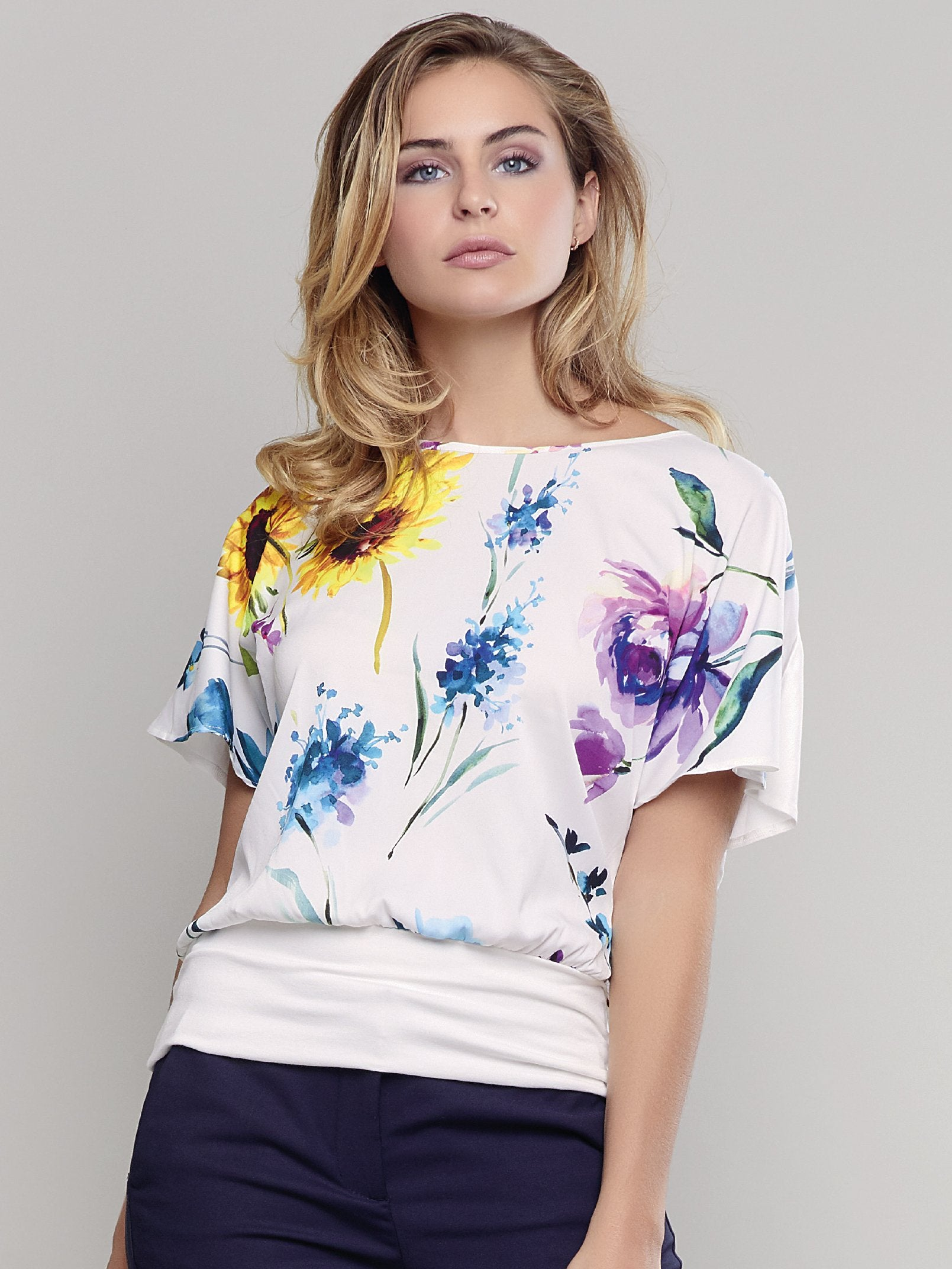 Passioni Ecru Jersey Top with Floral Woven Front