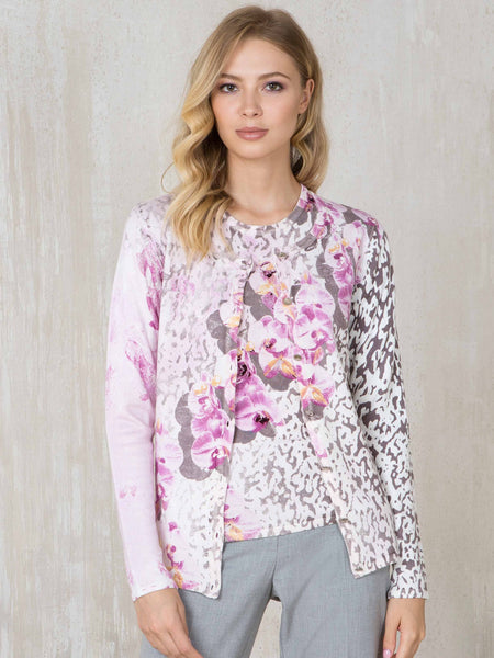 Passioni Pink/Grey Animal And Floral Print Twinset