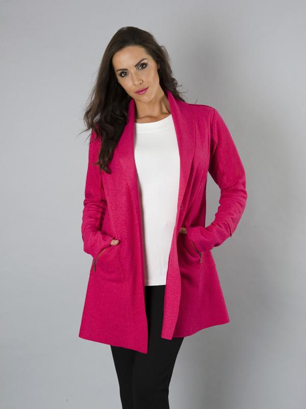 Pink Zip Detail Wool Coat