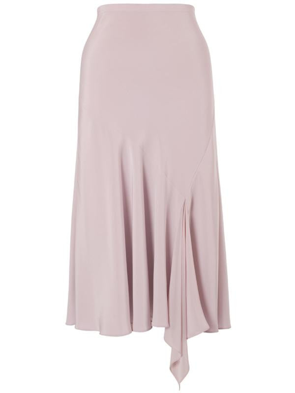 Powder Pink Satin Back Godet Skirt