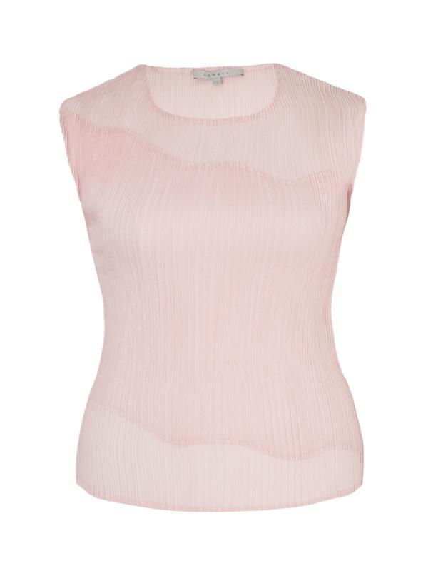 Powder Pink Chiffon Trim Crush Pleat Top