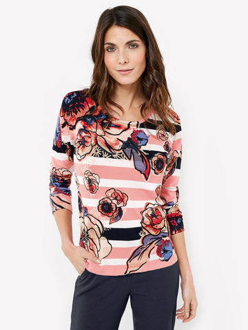 GERRY WEBER Pink/Navy/Ecru Stripe and Floral Knit Jumper