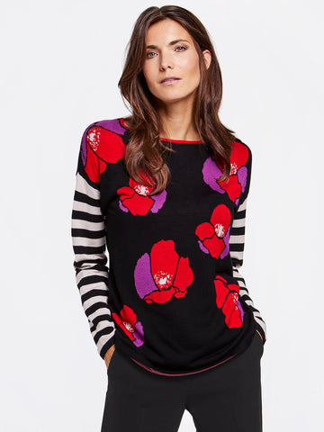 Gerry Weber Black/Lilac/Red Knitted Jumper With Stripe and Poppy Print