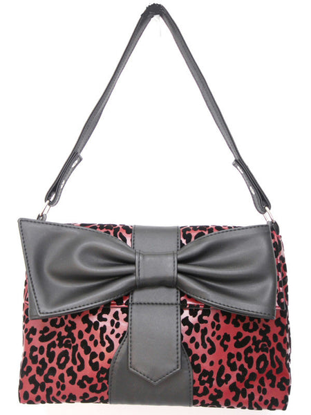 Red Leopard Print With Black Bow Bag B82Y134 alt1