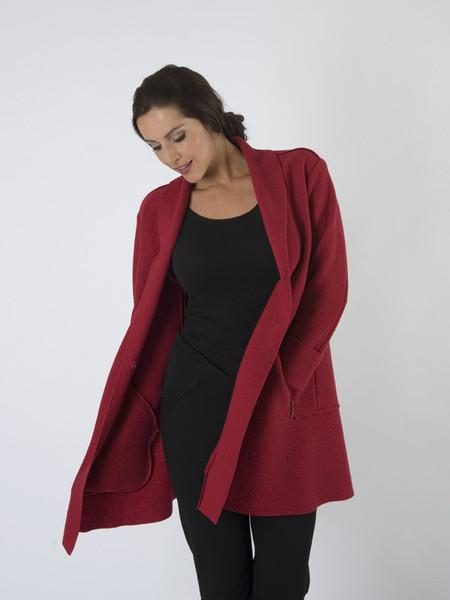 Red Zip Detail Wool Coat