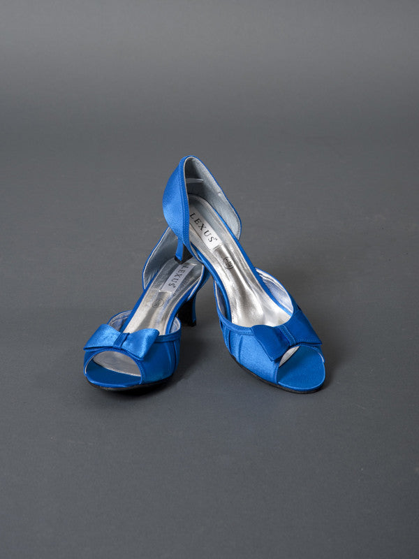 Royal Blue Bow Satin Wide Fit Shoe - D Fit