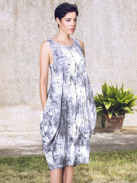 Vetono Grey Printed Jersey Drape Skirt Dress