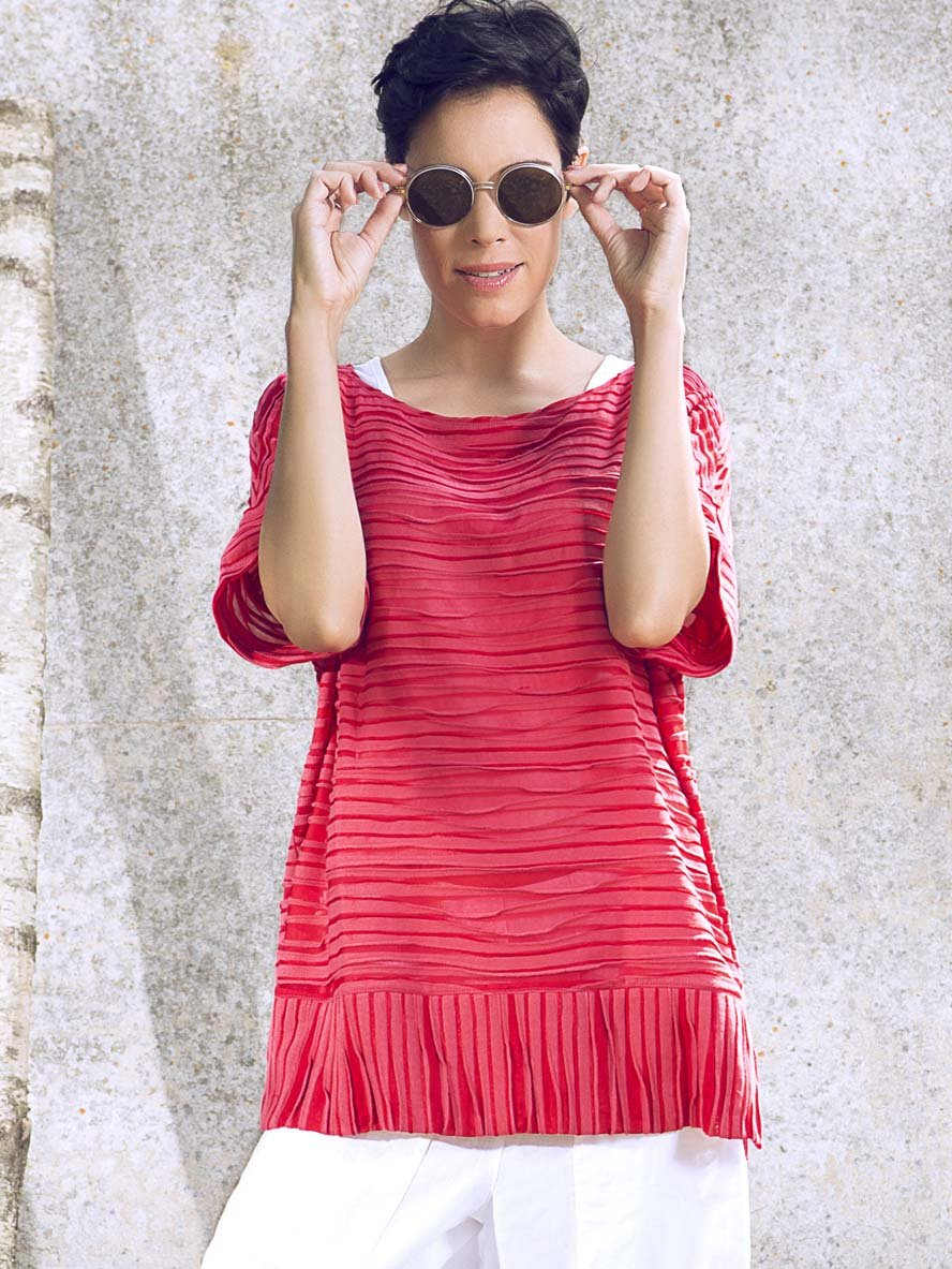 VETONO Coral Textured Jersey Tunic Top