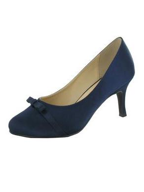 Navy Satin Bow Detail 'Leela' D Fit Shoe