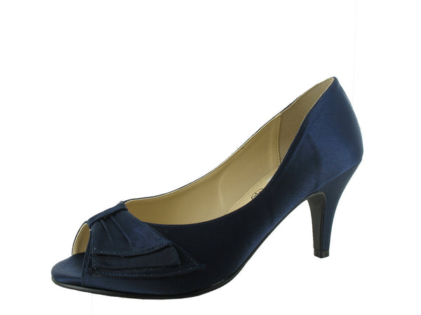 Navy Satin Peep Toe 'Peggy' D Fit Shoe