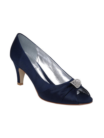 Navy Satin Diamanté Detail 'Anisha' D Fit Shoe