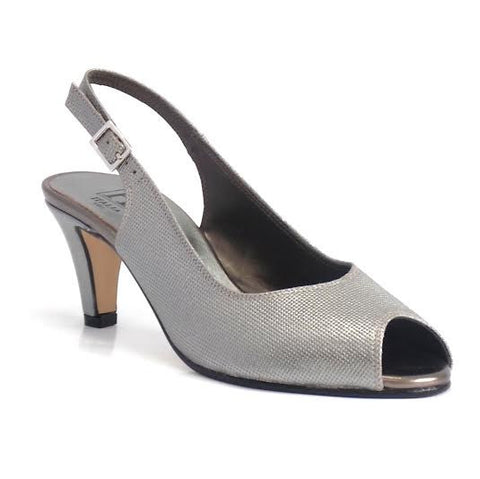 Metallic Grey Peep Toe Sling Back C+ Fit Shoe