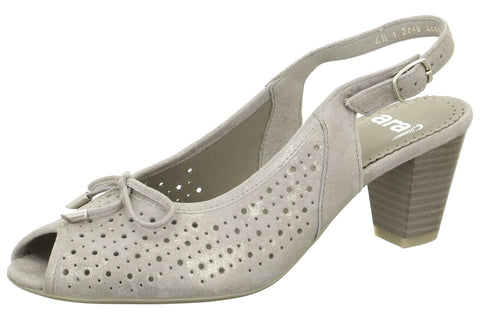 Grey Perforated Peep Toe Sling Back H Fit Shoe