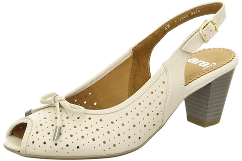 Nude Perforated Peep Toe Sling Back H Fit Shoe