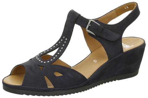 Navy Suede and Jet Bead G Fit Wedge Sandal