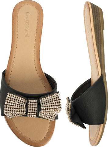 Black Diamonte Bow Sandal