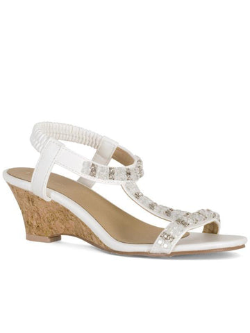 White Diamanté Detail Wedge Sandal