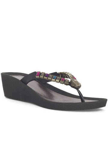 Black Gem Detail Wedge Sandal