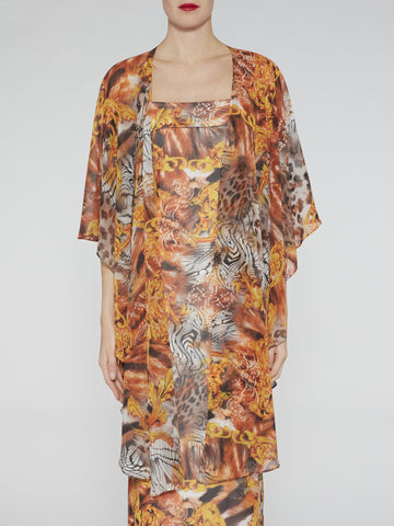 Gina Bacconi Abstract jungle chiffon shawl
