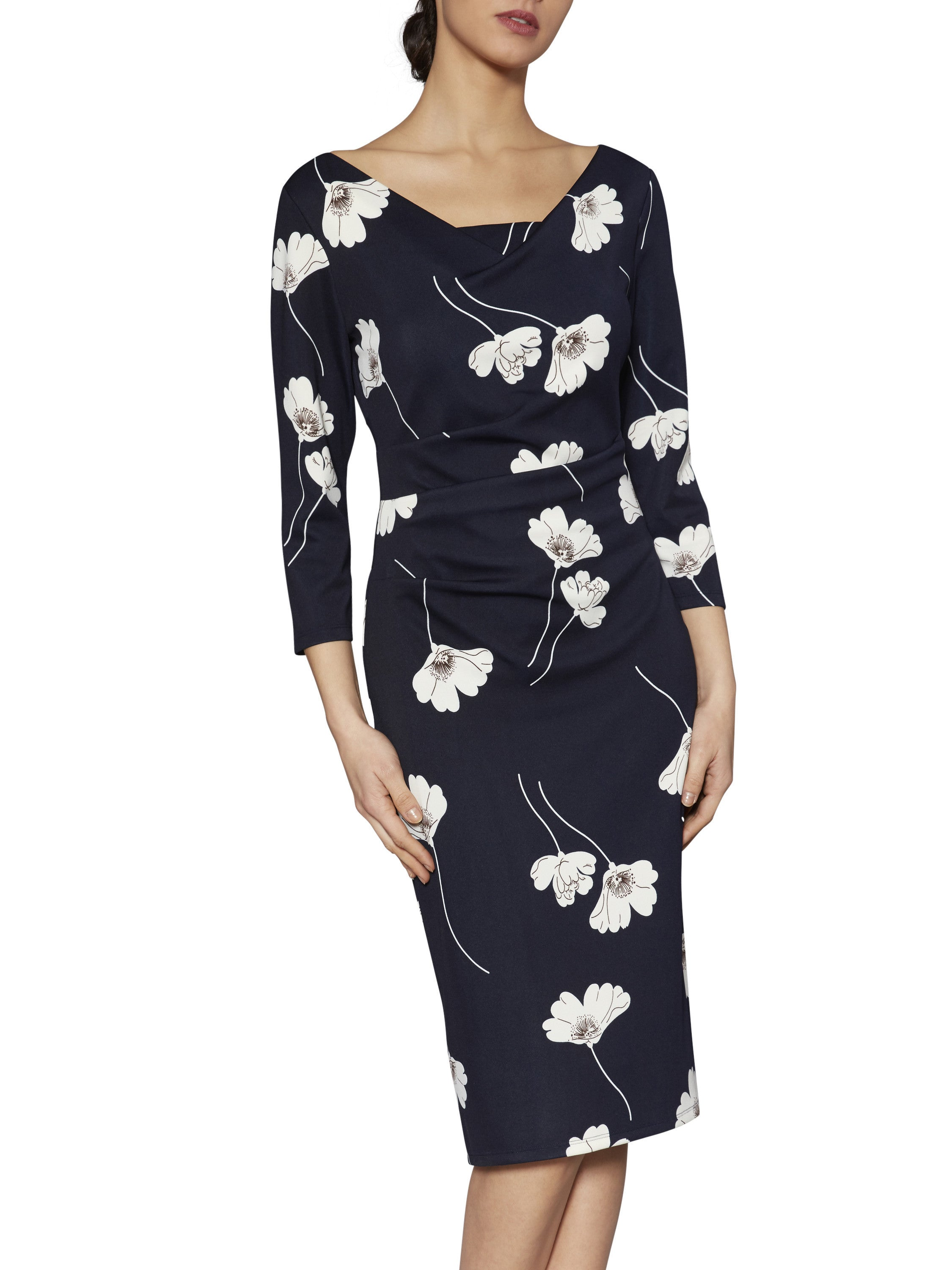 Gina Bacconi Navy Rosalyn Floral Print Dress
