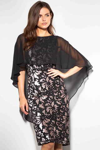 Gina Bacconi Lottie Floral Velvet Cape Dress