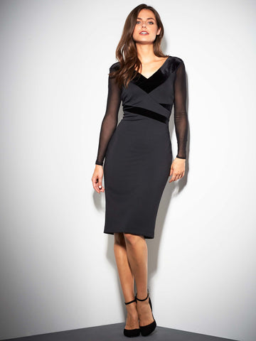 Gina Bacconi Justine Velvet Panel Dress