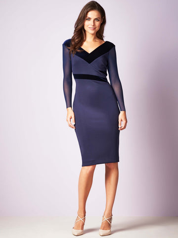Gina Bacconi Navy Justine Velvet Panel Dress - Limited Stock