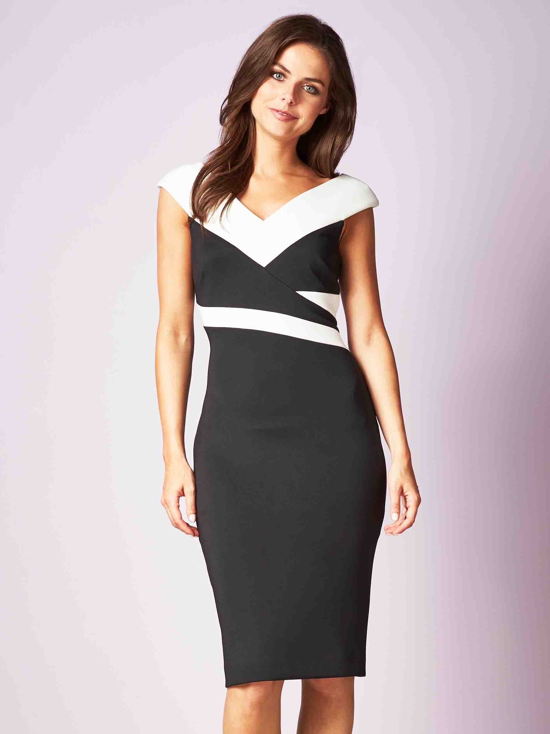 Gina Bacconi Black/Ivory Janet Contrast Panel Dress