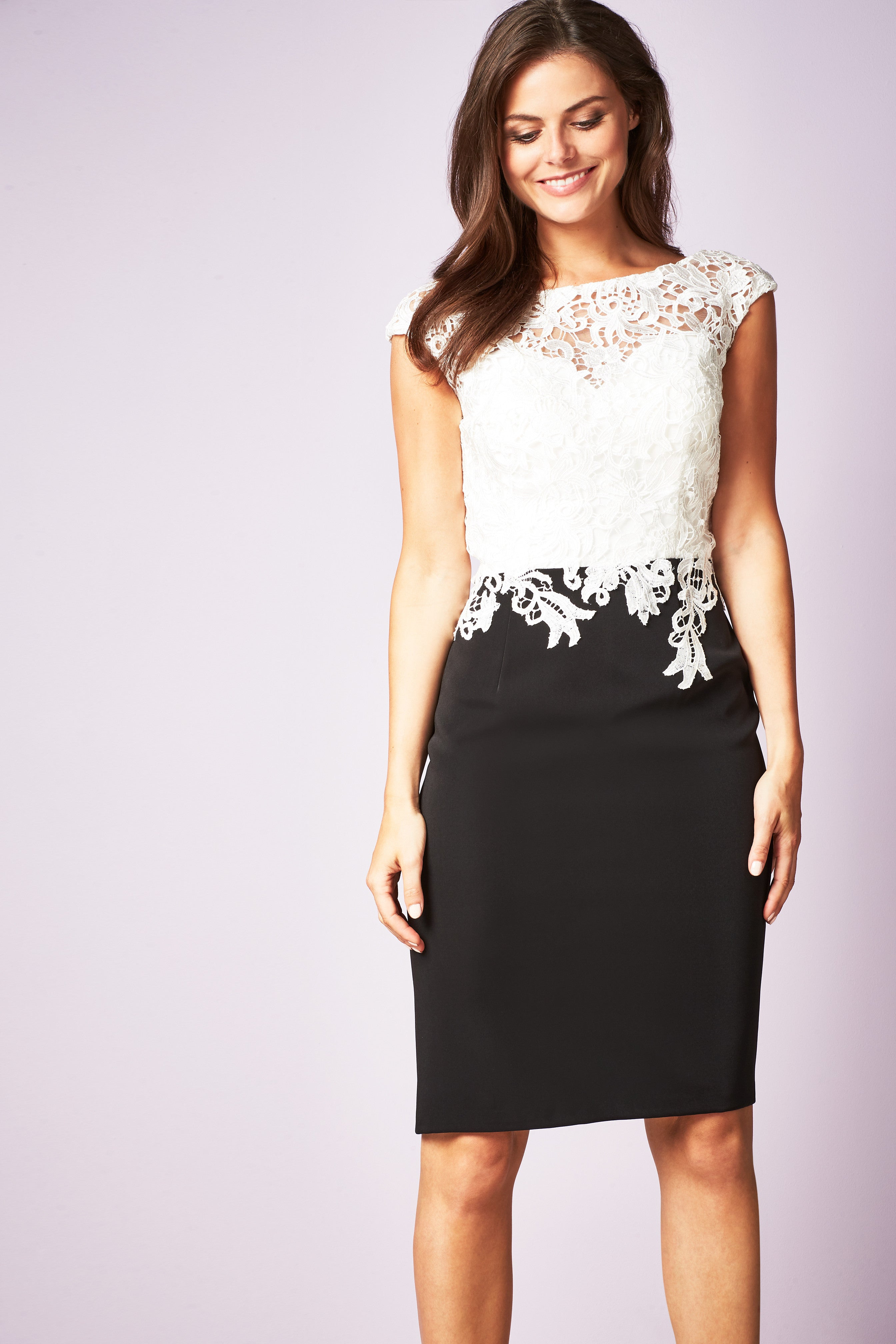 Gina Bacconi Black/Ivory Ella Contrast Lace Dress