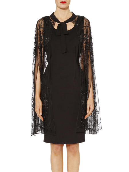Gina Bacconi Black Eve Floral Beaded Cape