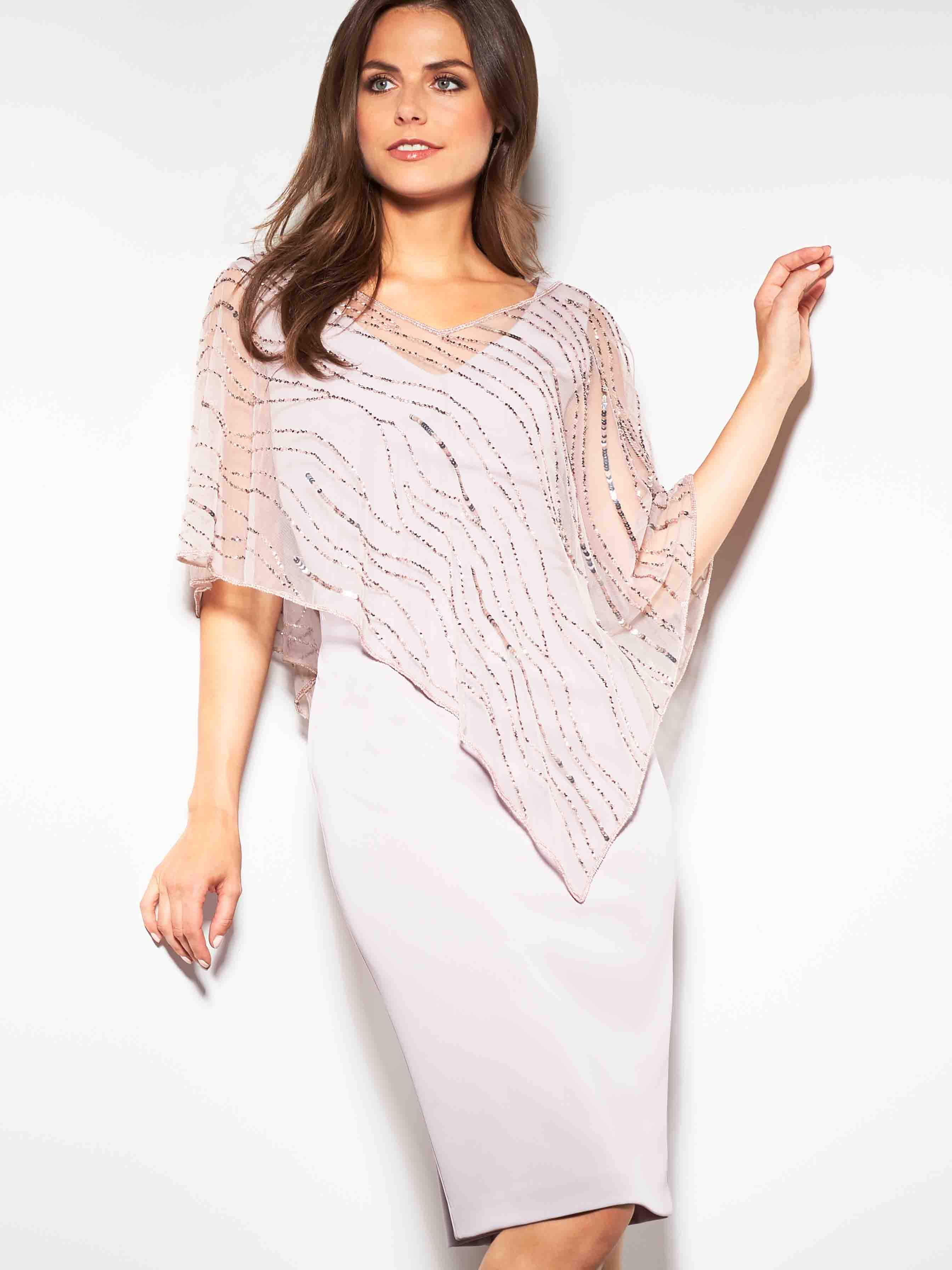 Gina Bacconi Pink/Beige Joanna Assymetric Beaded Cape Dress