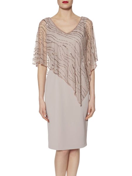 Gina Bacconi Pink/Beige Joanna Assymetric Beaded Cape Dress- Pre Order End of August