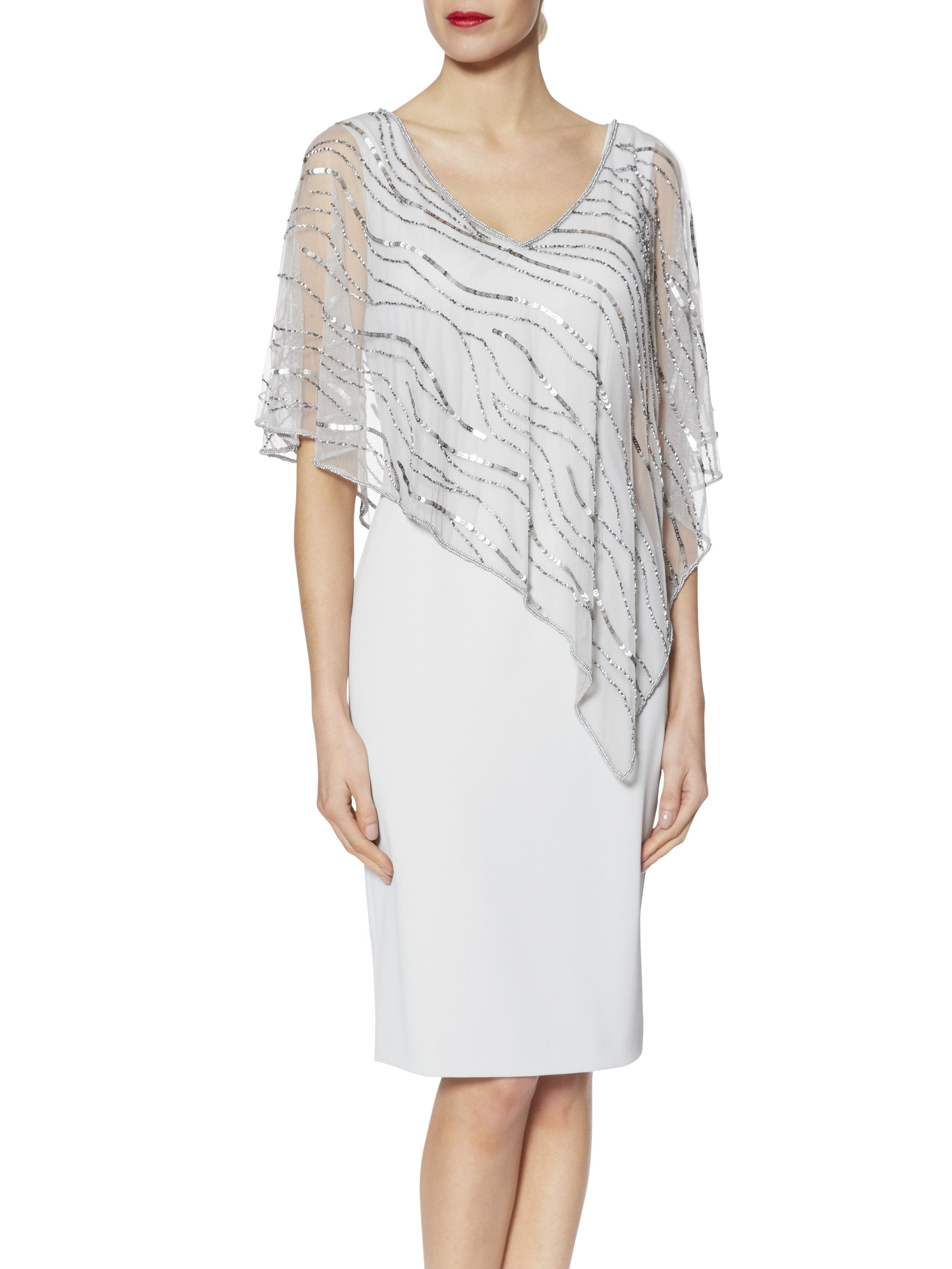 Gina Bacconi Silver Joanna Assymetric Beaded Cape Dress