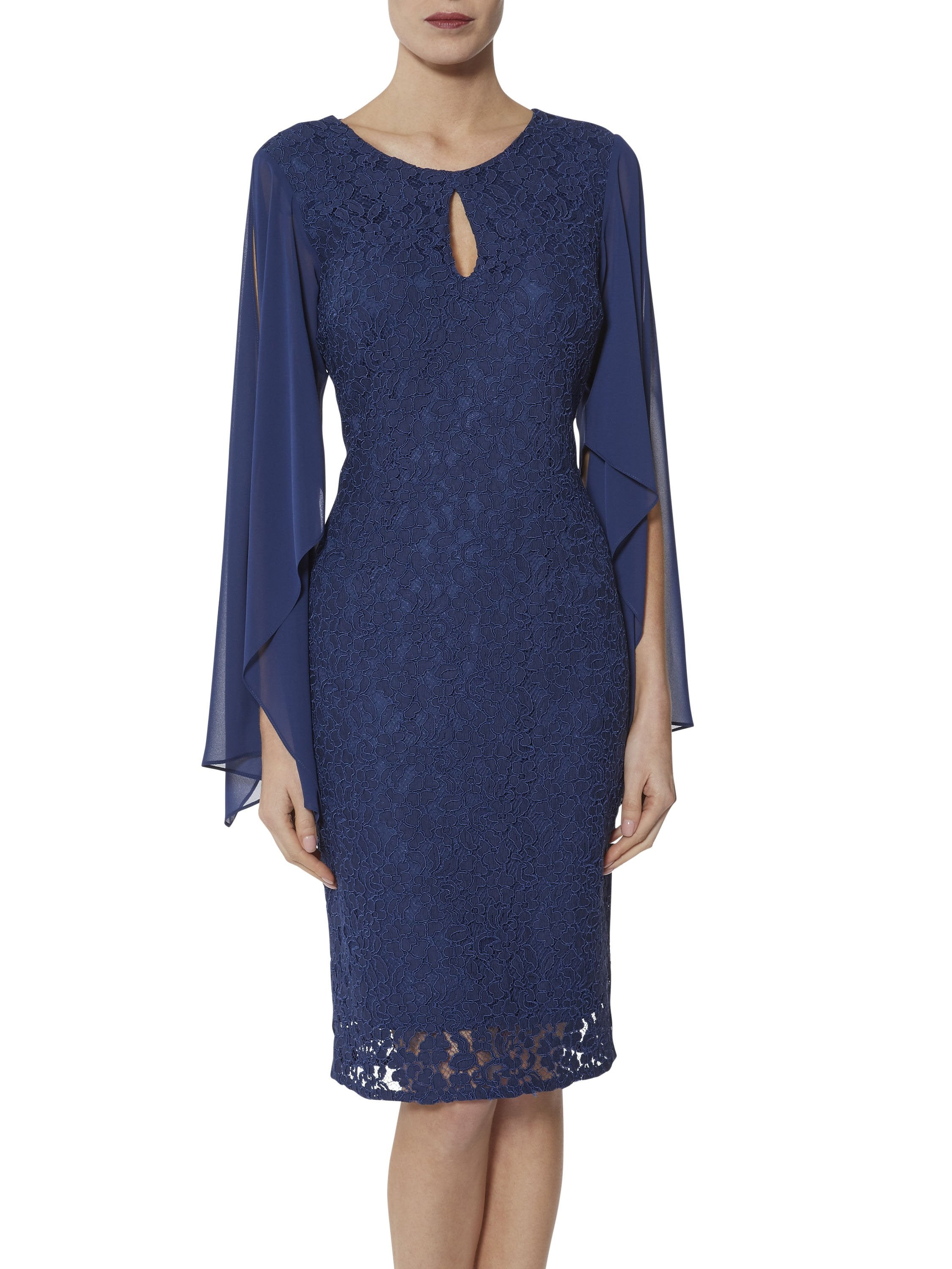 Gina Bacconi Navy Niamh Lace And Chiffon Dress