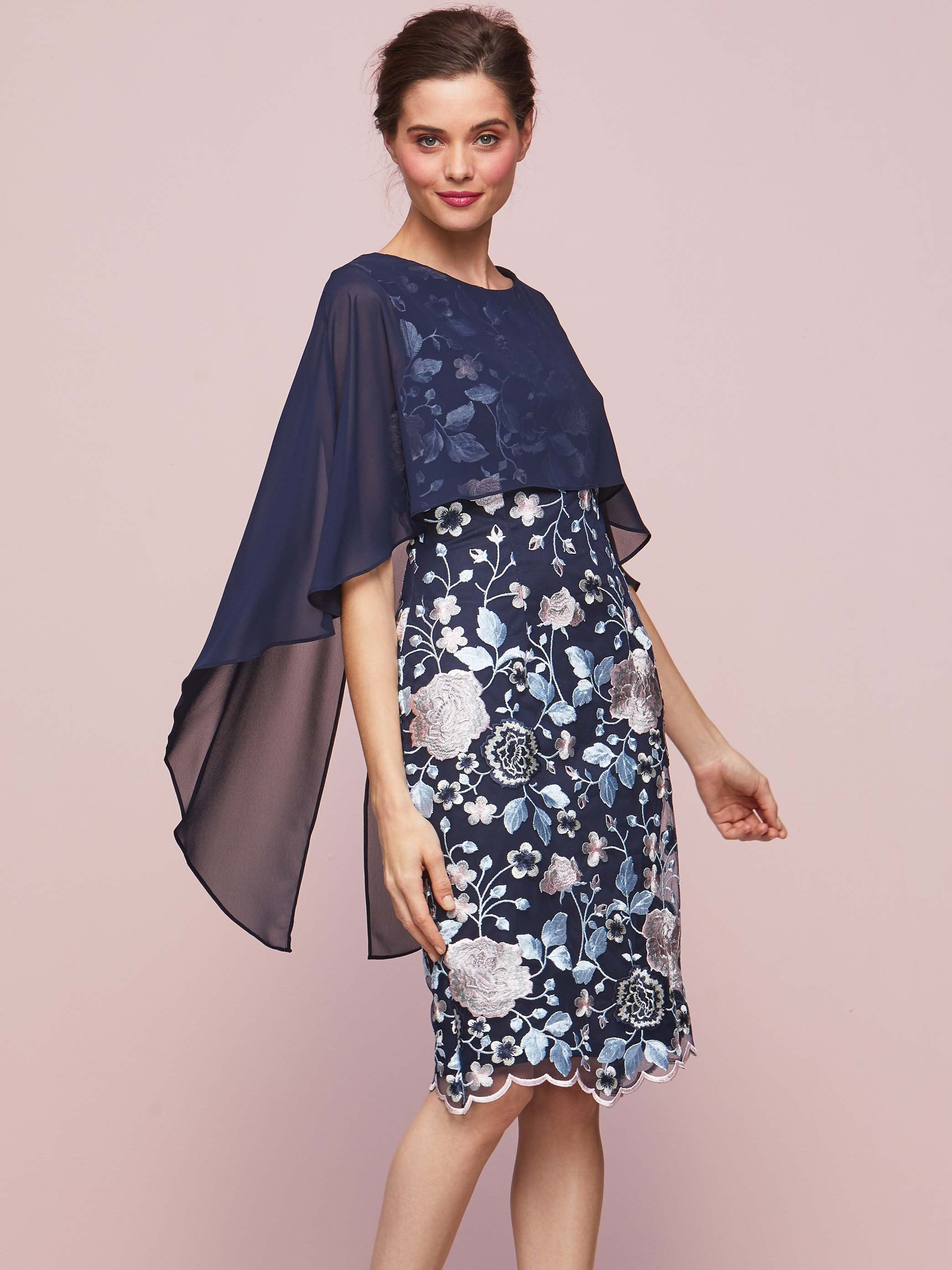 Gina Bacconi Blue/Pink Jacquelin Dress And Chiffon Cape