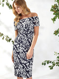 Gina Bacconi Navy/White Genevive Floral Bardot Dress