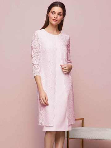Gina Bacconi Pink Clarabelle Crepe And Lace Dress