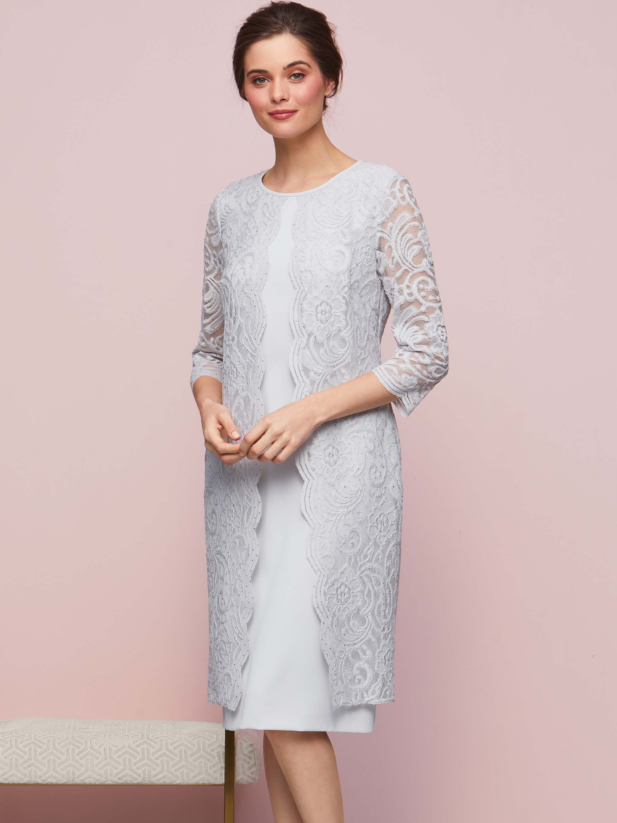 Gina Bacconi Silver Mist Clarabelle Crepe And Lace Dress