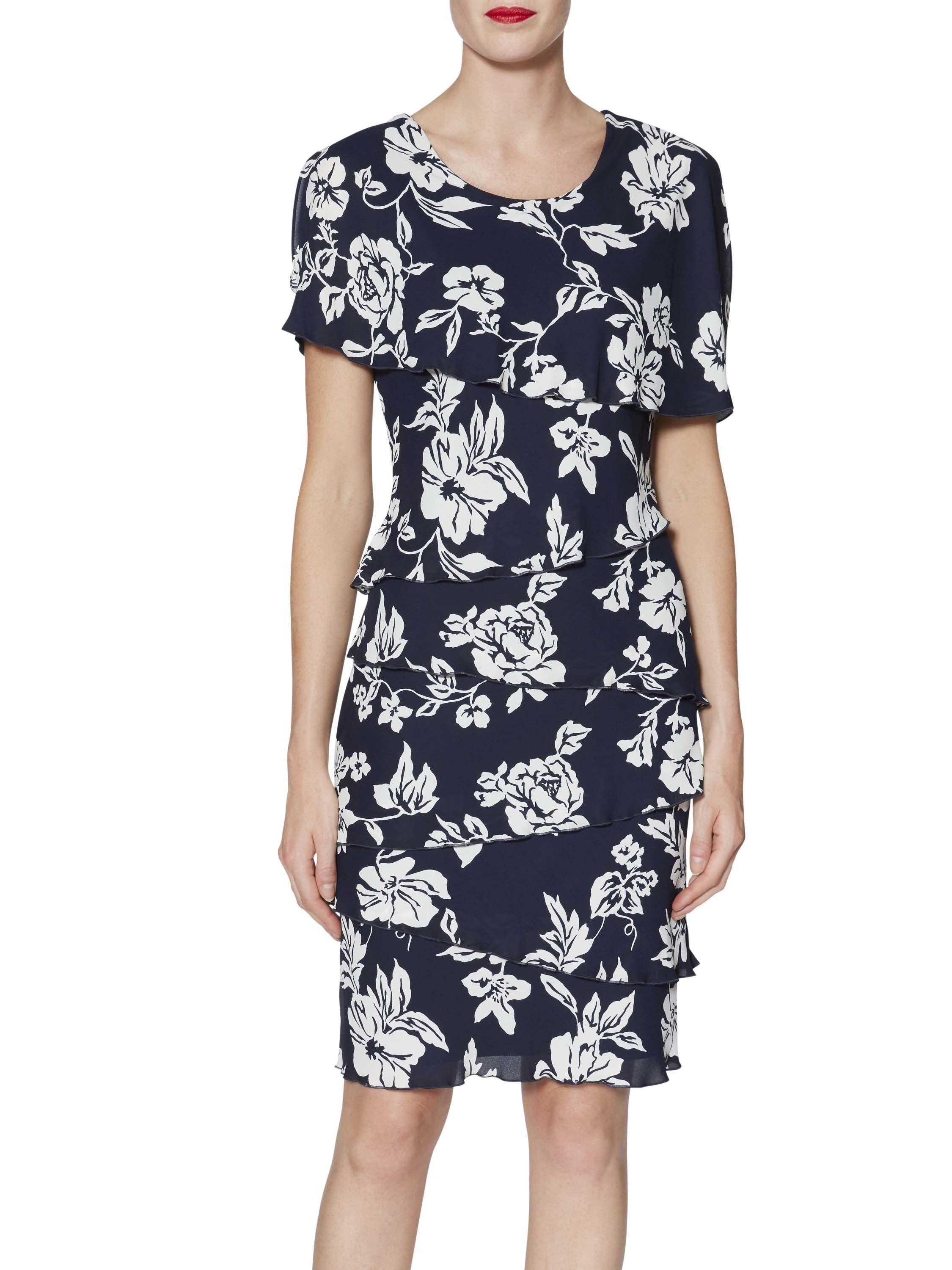Gina Bacconi Navy Esme Floral Tiered Dress