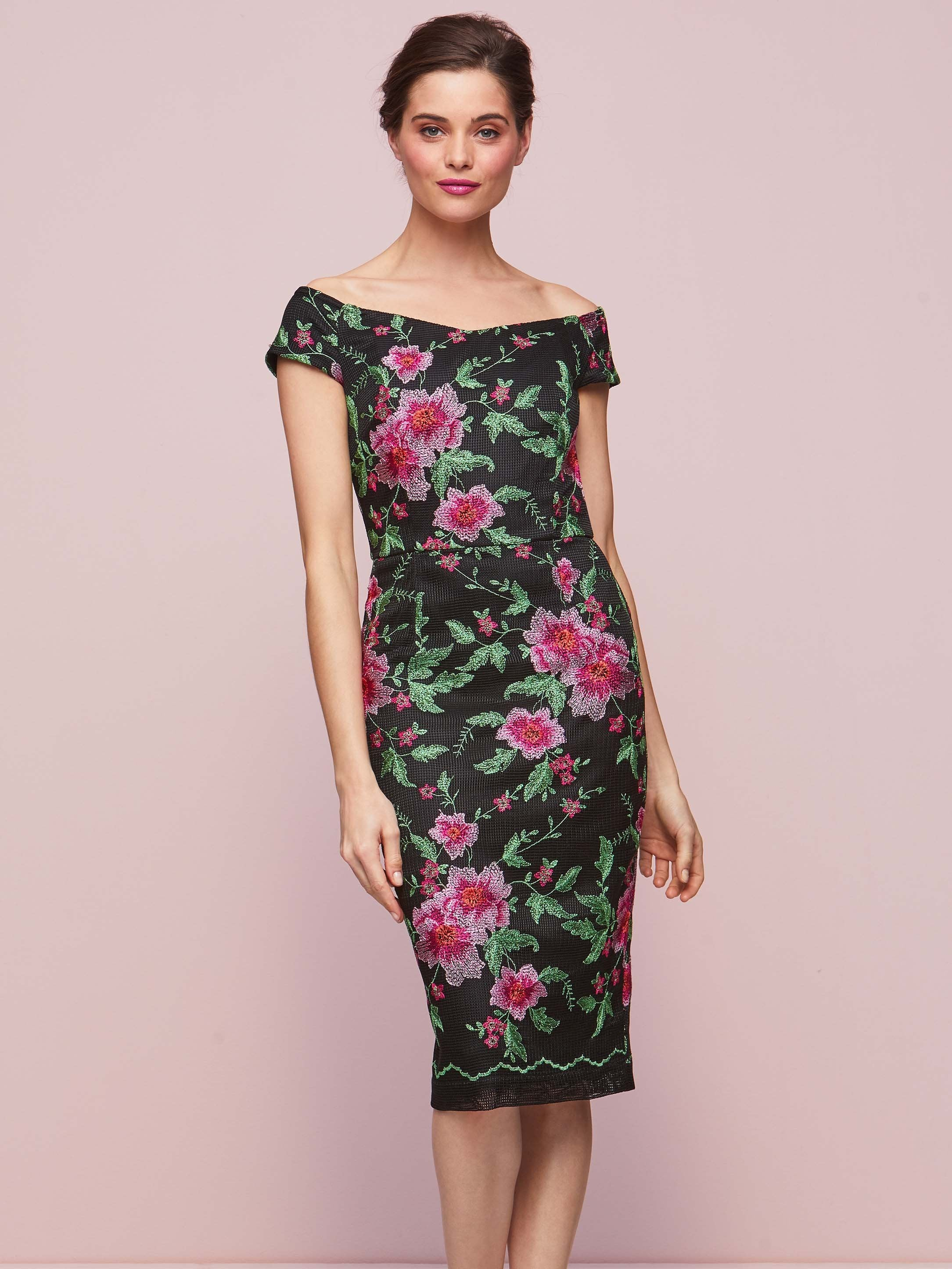 Gina Bacconi Black/Pink Floral Embroidery Dress