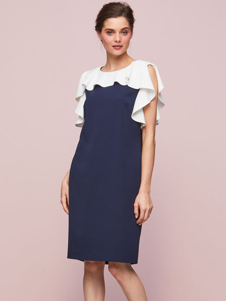 Gina Bacconi Navy/Chl Belinda Frill Dress