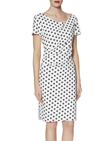 Gina Bacconi White/Black Barbara Spotted Crepe Dress