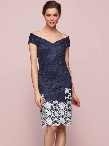 Gina Bacconi Navy/White Anthea Contrast Lace Dress