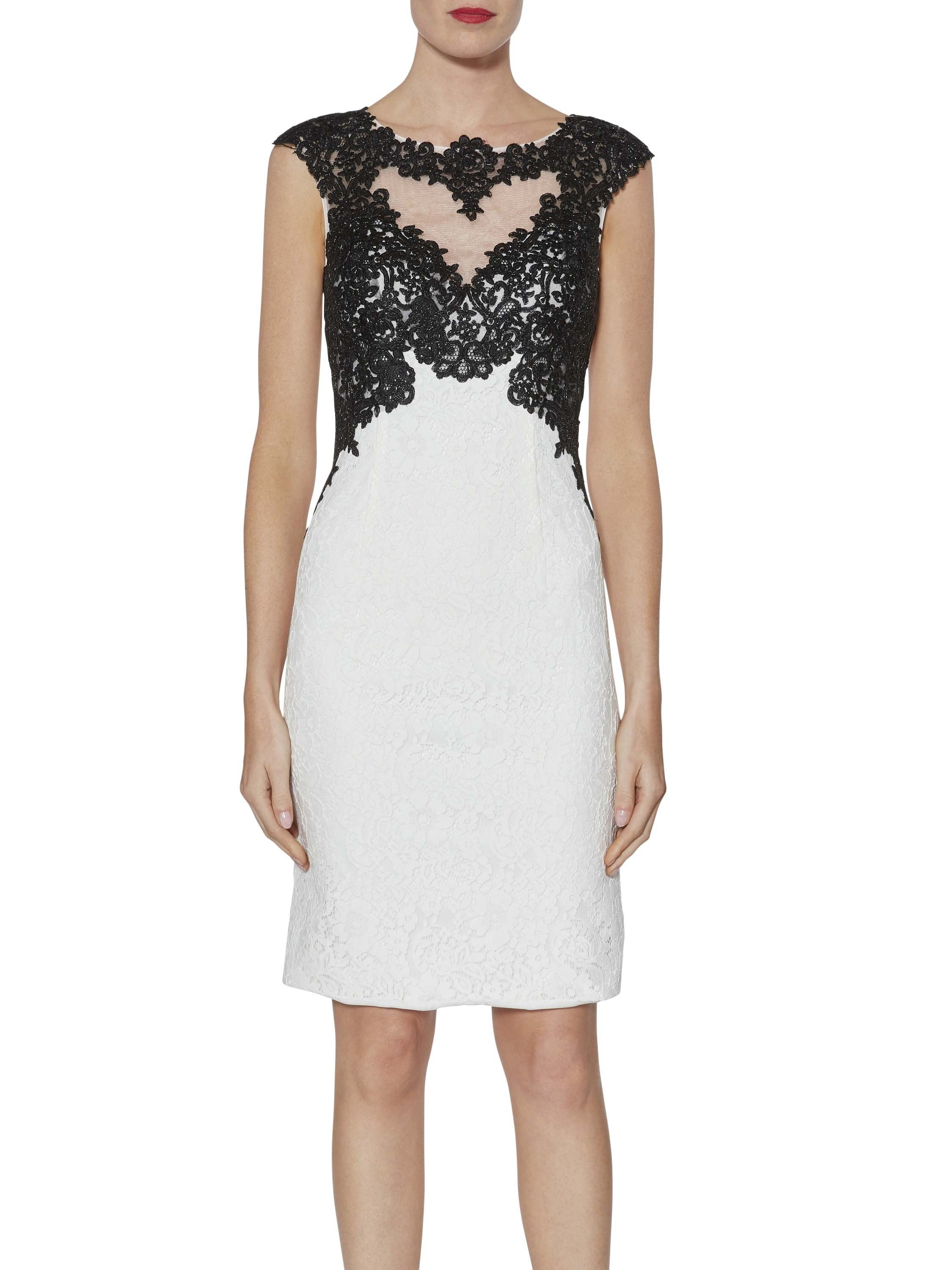 Gina Bacconi White/Black Tallulah Contrast Lace Dress