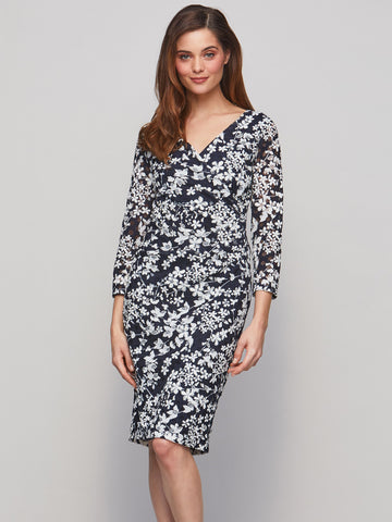 Gina Bacconi Navy/White Floral Printed Lace Dress